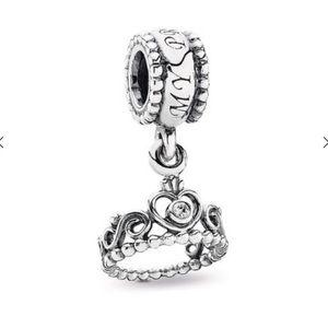 Pandora My Princess Dangle Charm Tiara Crown CZ